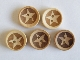 Wooden Star Buttons - Light